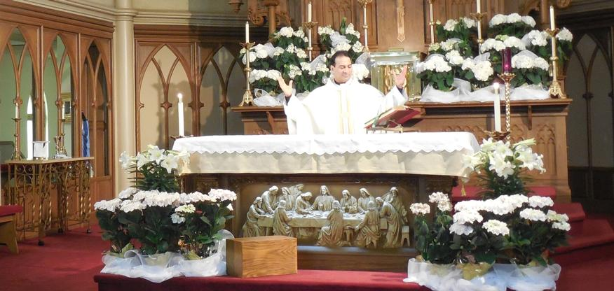 Father Steve at the Easter altar